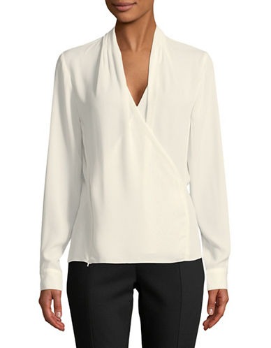 T Tahari Erynne Wrap Top-NATURAL-Small