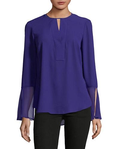 T Tahari Brigitta Bell-Sleeve Blouse-BLUE-X-Small