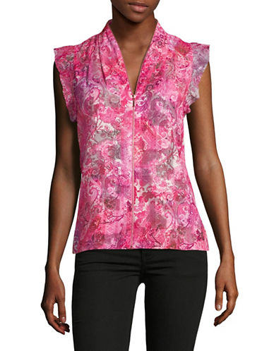 T Tahari Esme Printed Top-PINK-Large