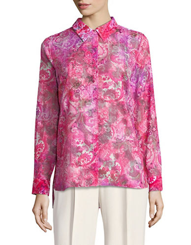 T Tahari Josella Printed Button-Down Shirt-PINK-Large