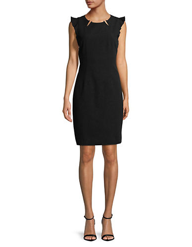 T Tahari Chassity Cap-Sleeve Dress-BLACK-10