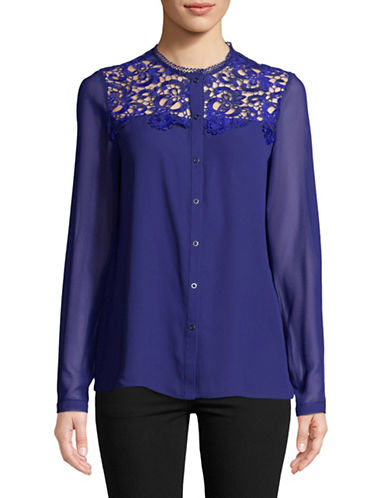 T Tahari Luna Lace Blouse-BLUE-X-Small