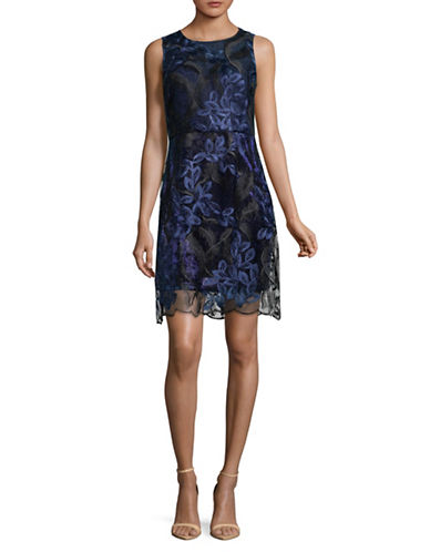 T Tahari Wortha Lace Dress-BLUE-16