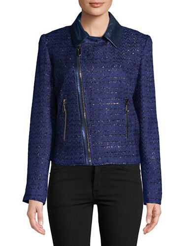 T Tahari Crystal Full-Zip Jacket-BLUE-Medium