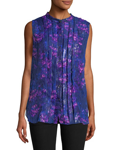 T Tahari Pleated Front Sleeveless Blouse-BLUE-Large