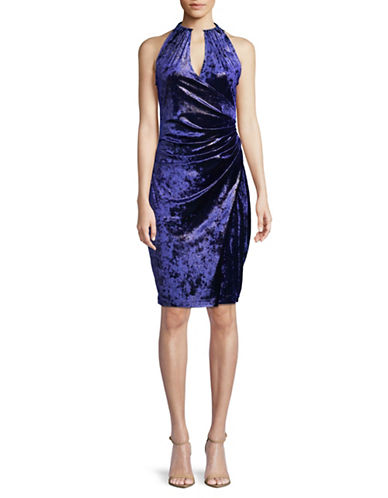 T Tahari Velvet Wrap Dress-BLUE-Large