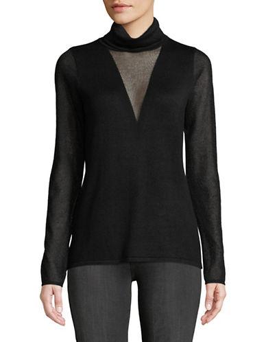 T Tahari Kelly Mesh Inset Sweater-BLACK-Small