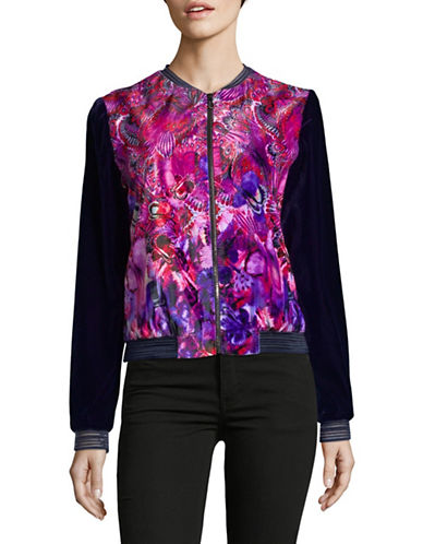 T Tahari Fatima Velvet Jacket-PURPLE-Medium