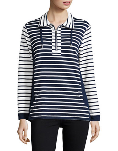 Ruby Rd Striped Funnel Neck Top-BLUE-X-Large 88995436_BLUE_X-Large