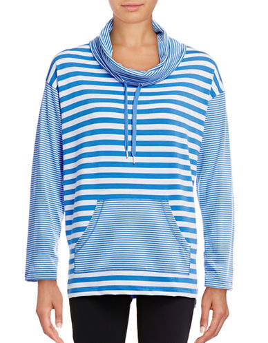 Ruby Rd Striped Drawstring Cowl Sweater-BLUE-Large