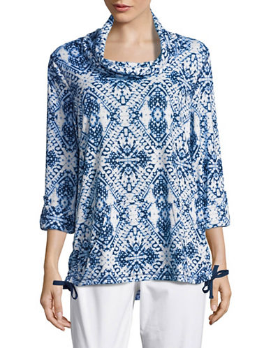 Ruby Rd Printed Cowl Neck Top-BLUE-Small 89070465_BLUE_Small