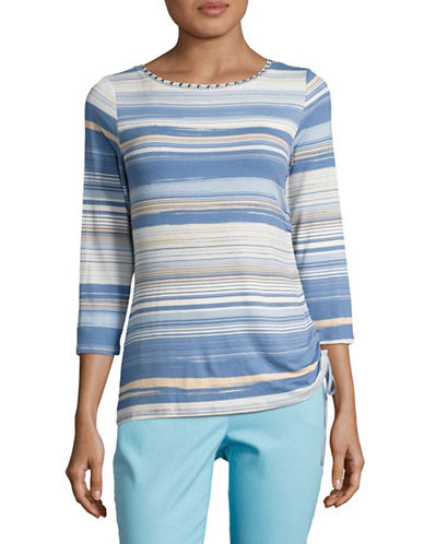 Ruby Rd Embellished Striped T-Shirt-MULTI-Large