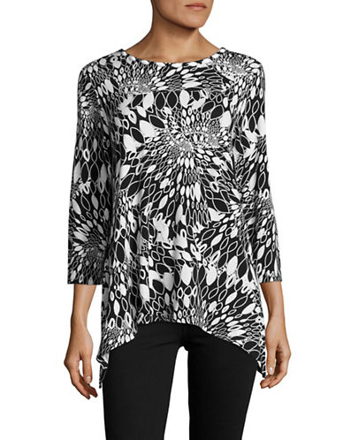Ruby Rd Printed Embellished-Neck Top-BLACK-Small 89084776_BLACK_Small