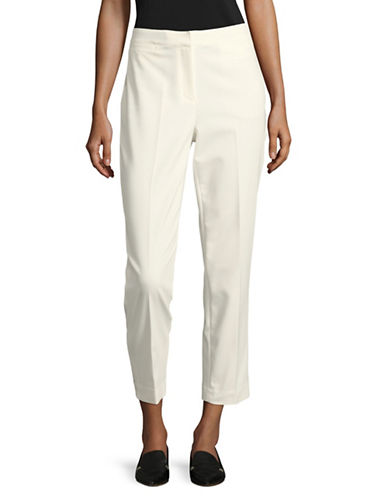 Ruby Rd Slit-Pocket Stretch Ankle Pants-WHITE-16