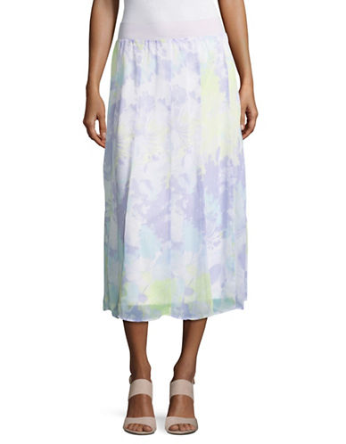 Ruby Rd Floral Chiffon A-Line Skirt-PURPLE-Medium