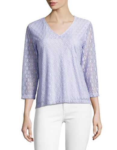 Ruby Rd Knit Geo Stretch Lace Top-PURPLE-Medium