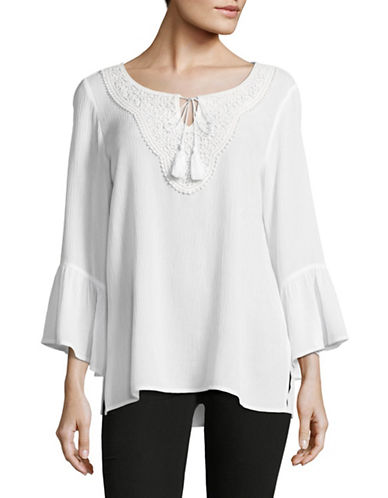 Ruby Rd Crochet Embroidered Tunic-WHITE-Medium