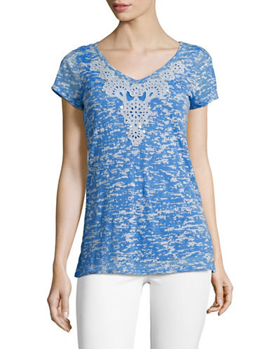 Ruby Rd Embellished V-Neck Texture Knit Top-BLUE-Small 89210638_BLUE_Small