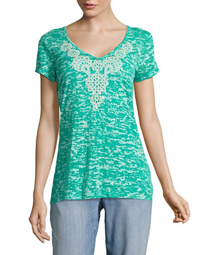 Ruby Rd Embellished V-Neck Texture Knit Top-GREEN-Large