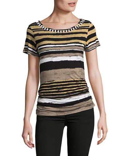 Ruby Rd Beaded Striped T-Shirt-BEIGE MULTI-Large