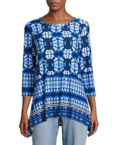 Ruby Rd Embellished Scoop Neck Tie-Dye Knit Top-BLUE-Small
