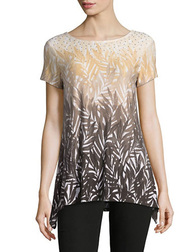 Ruby Rd Ombre Palm T-Shirt-BEIGE MULTI-X-Large