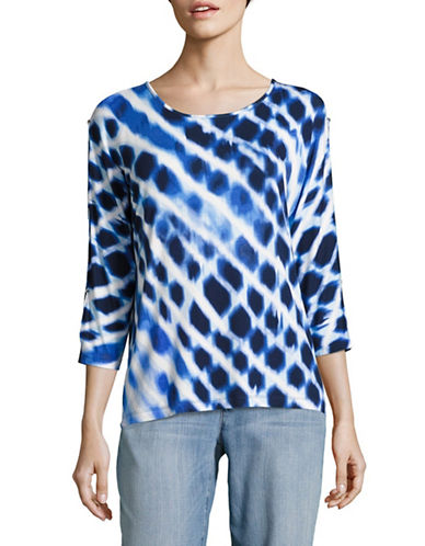 Ruby Rd Split Sleeve Tie-Dye Reflections Print Top-BLUE-X-Large