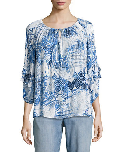 Ruby Rd Paisley Tassel Tie Ruffle Sleeve Blouse-BLUE-Large