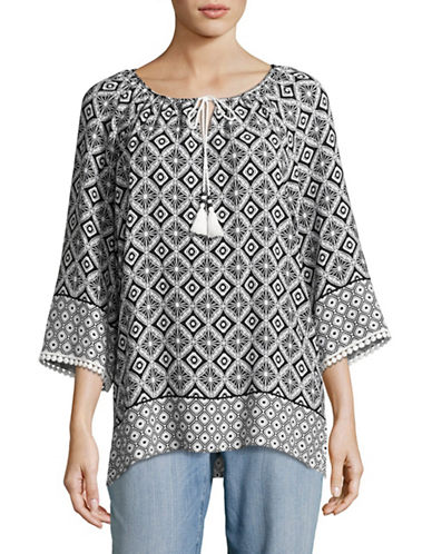 Ruby Rd Split Neck Tassel Shibori Blouse-WHITE-Medium