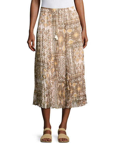 Ruby Rd Diamond Print Skirt-BEIGE MULTI-Medium