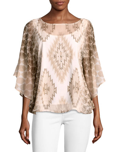 Ruby Rd Printed Diamond Cape Top-BEIGE MULTI-Large