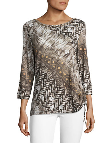 Ruby Rd Embellished Tie Dye T-Shirt-BROWN MULTI-Large
