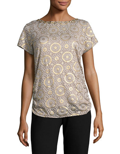 Ruby Rd Embellished Printed T-Shirt-BEIGE-Small