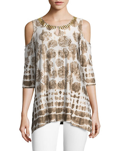 Ruby Rd Tie Dye Cold Shoulder Top-BEIGE MULTI-Small