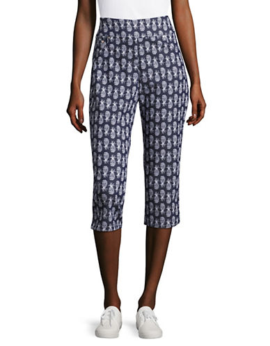Ruby Rd Stretch Pineapple Print Capri Pants-BLUE-18