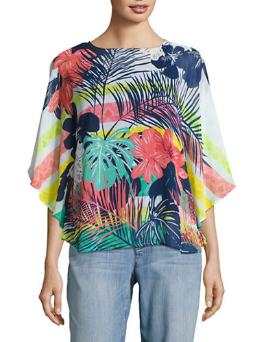 Ruby Rd Scoop Neck Tropical Print Drape Top-GREY-X-Large 89274500_GREY_X-Large
