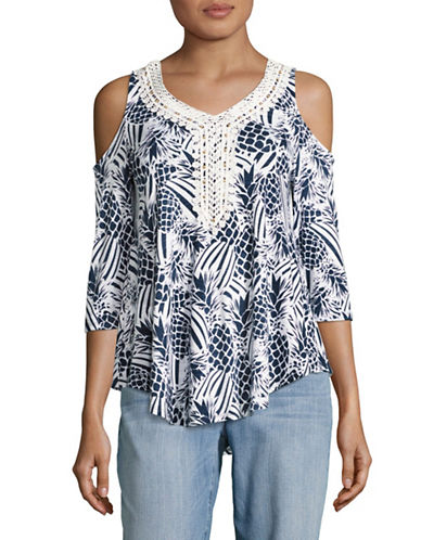 Ruby Rd Lace Trim Knit Top-BLUE-Large