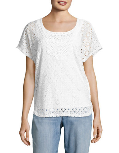 Ruby Rd Scoop Neck Lace Butterfly Top-WHITE-Small