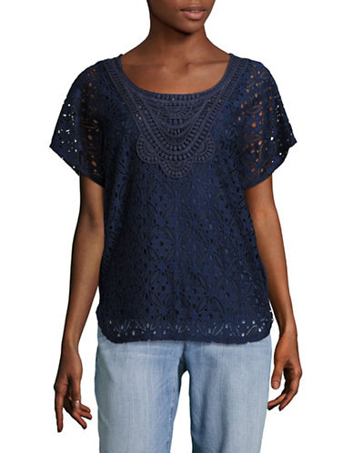 Ruby Rd Scoop Neck Lace Butterfly Top-BLUE-Small
