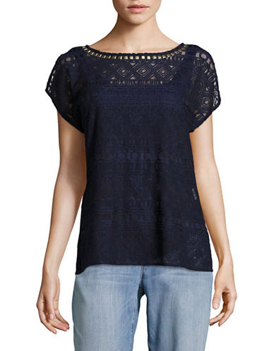 Ruby Rd Embellished Ballet Neck Geo Mesh Top-BLUE-X-Large
