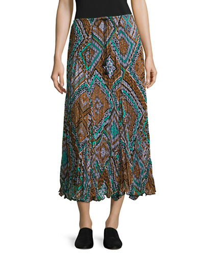 Ruby Rd Diamond Print Skirt-GREEN MULTI-Medium