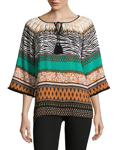 Ruby Rd Tapestry Peasant Top-GREEN MULTI-X-Large