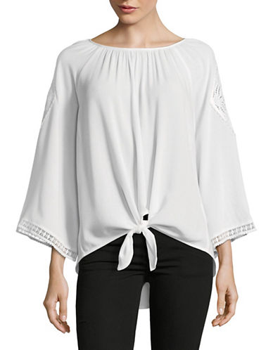 Ruby Rd Crepe Tie Front Tunic-WHITE-Large