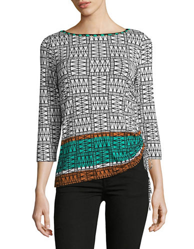 Ruby Rd Embellished Geo Border Top with Tied Hem-GREEN-Large