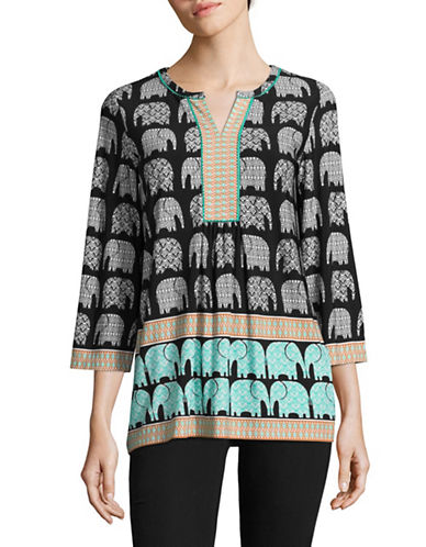 Ruby Rd Elephant Print Top-GREEN MULTI-Small