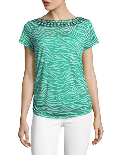 Ruby Rd Zebra Print T-Shirt-GREEN-Large