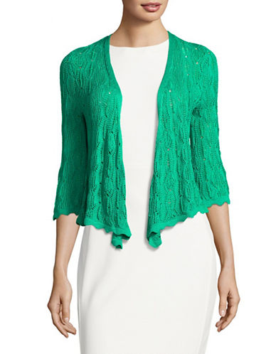 Ruby Rd Shimmering Pointelle Cardigan-GREEN-X-Large