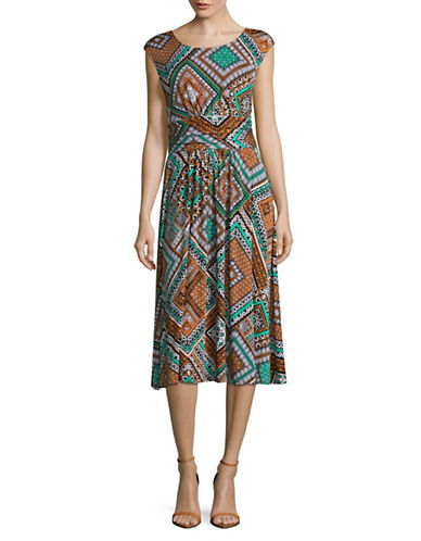 Ruby Rd Scoop Neck Printed Midi Dress-ORANGE MULTI-Large