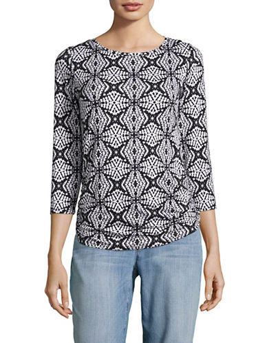 Ruby Rd Scoop Neck Reflections Print Top-GREY-Small