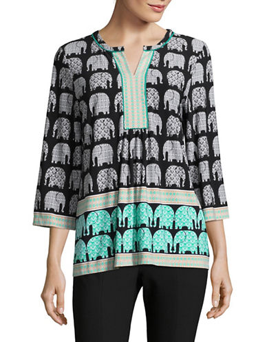Ruby Rd Elephant Print Top-BEIGE-Large
